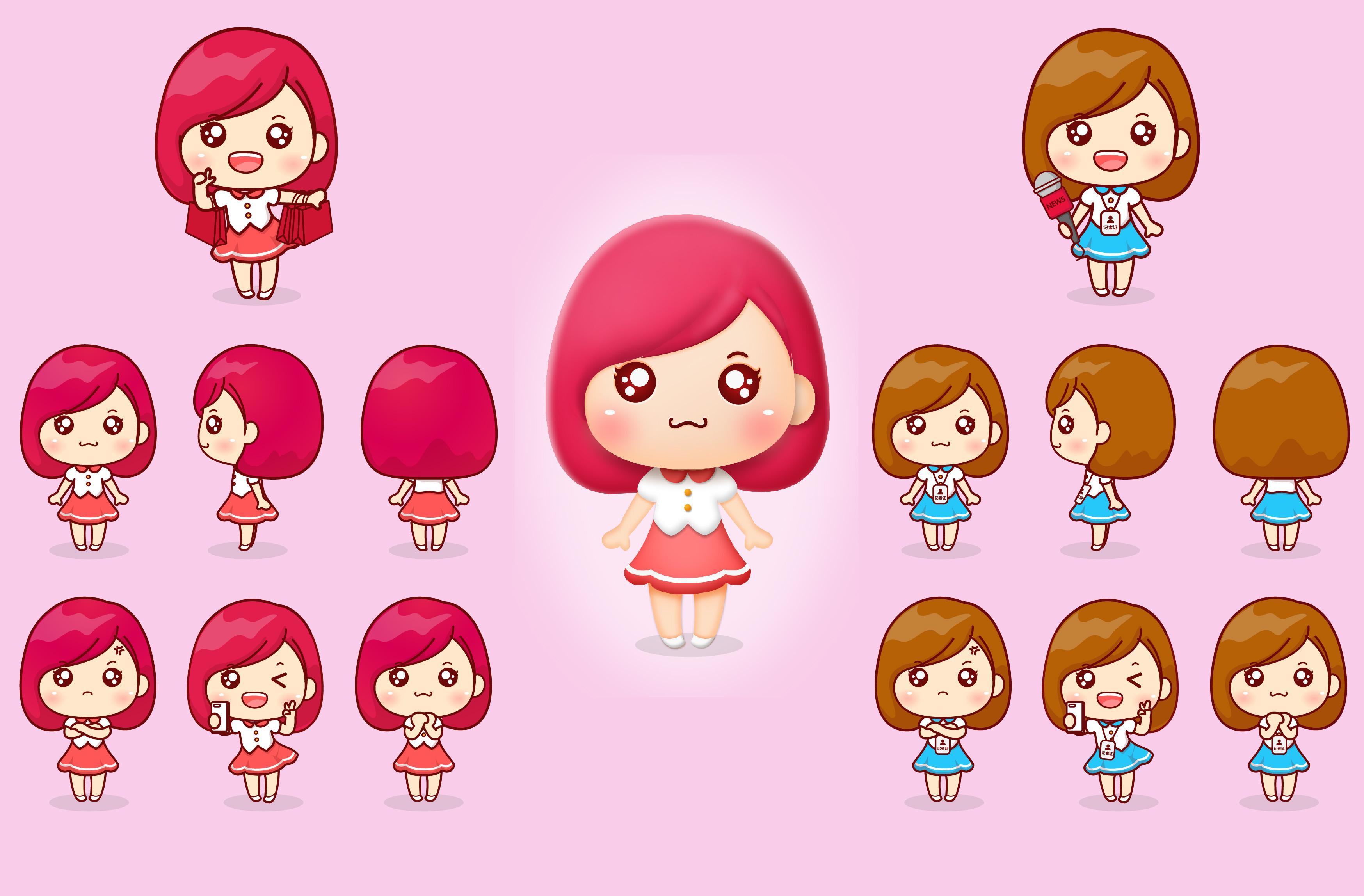 甜甜女生系列卡通图